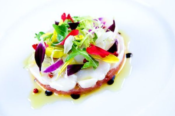 tuna tartare scallop crudo pink peppercorns spring salad